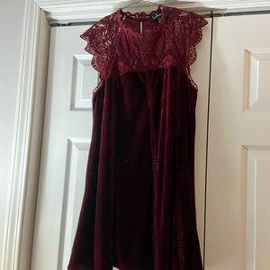 Lulus velvet crochet dress